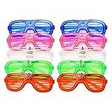 Yangmg Luz LED hasta destellando Gafas ranuradas y persianas de Sombra Divertidas Gafas Gafas para Fiesta Halloween Navidad Set de 10
