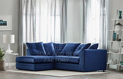 Roxie Plush Velvet 3 Seater Fabric Corner Sofa Blue Small Chaise (Left Hand Facing)
