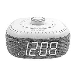 DreamCaster by Sharp Sound Machine Alarm Clock with Bluetooth Speaker, 6 High Fidelity Sleep Machine Soundtracks – White Noise Machine for Baby, Adults, Home and Office – White LED