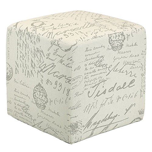 Cortesi Home Braque Cube Ottoman in Linen Script Print Fabric, Beige