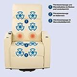 aktivshop Fernsehsessel – Relaxsessel – Komfortsessel mit Aufstehhilfe, Wärmefunktion & Massage || ausklappbarer Seitentisch || inkl. Seitenfach (Creme) - 4