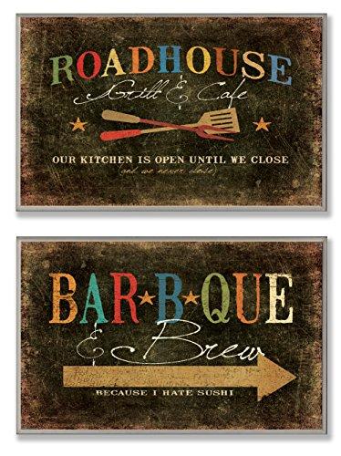 Die Stupell Home Decor Kollektion Roadhouse Grill BBQ und Brew Duo Küche Wandschild