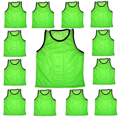 Scrimmage Training Vests Soccer Bibs Youth Set of 12 (Green)