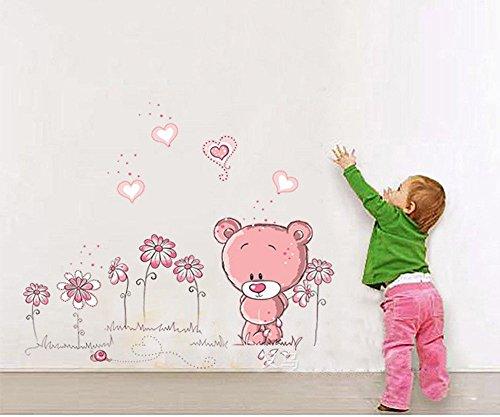 ufengke® Niedlichen Rosa Bären Lieben Herz Wandsticker, Kinderzimmer Babyzimmer Entfernbare Wandtattoos Wandbilder