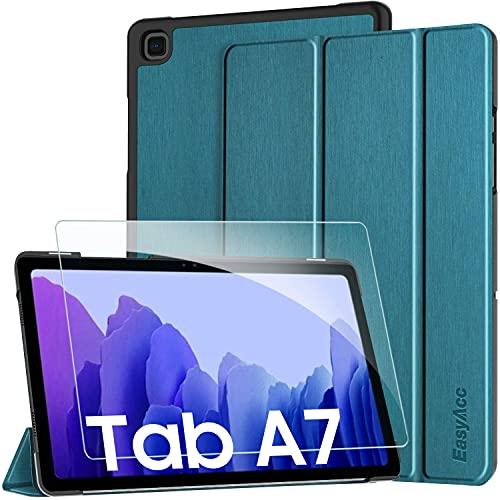 EasyAcc Custodia Cover + Pellicola Protettiva Compatibile con Samsung Galaxy Tab A7 10.4 2020, Ultra Sottile Smart Cover in Pelle Vetro Temperato Protezioni Pellicola per SM-T500/T505, Blu Pavone