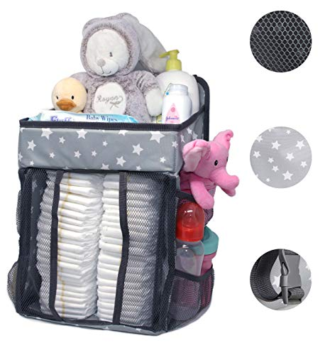 Hanging Diaper Caddy | Nursery Organizer & Baby Organization Storage for Infants & Toddlers. Organize The Nursery Room Instantly. Hang on The Crib, Drawer Changing Table or Dresser. Star Design.