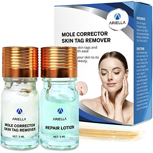 Ariella Removal Treatment-Made of Natural Plant Extracts-Simple and Easy to Apply Skin Tag Remover & Mole Corrector and Repair Lotion Set,