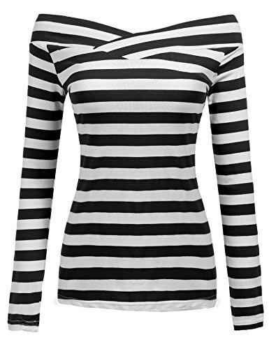 Zeagoo Damen Gestreiftes Shirt Schulterfrei Kurzarmshirt Off Shoulder Oberteil T-Shirt Streifen Tops (Schwarz_2, EU 38/ M)