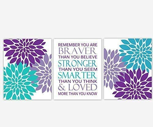 Girl Nursery Wall Art Purple Lavender Teal Aqua Turquoise Flower Burst Dahlia Mums Remember You Are Braver Baby Nursery Decor 3 UNFRAMED PRINTS