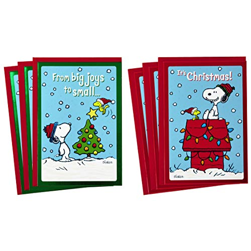 Hallmark Peanuts Christmas Cards Assortment, Snoopy and Woodstock (6 Cards with Envelopes, 2 Designs)