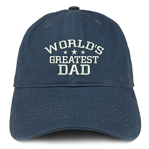 Trendy Apparel Shop World's Greatest Dad Embroidered Soft Crown 100% Brushed Cotton Cap - Navy