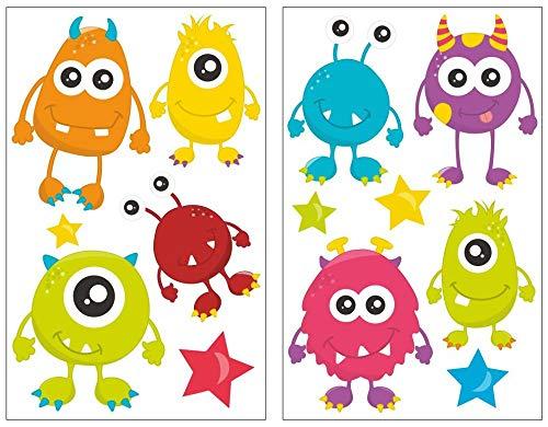 Samunshi® 13x Wandtattoo Süße Monster Set Wandbilder Kinderzimmer Deko Junge Wandtattoo Kinderzimmer Mädchen Wandsticker Kinderzimmer 2X 16x26cm
