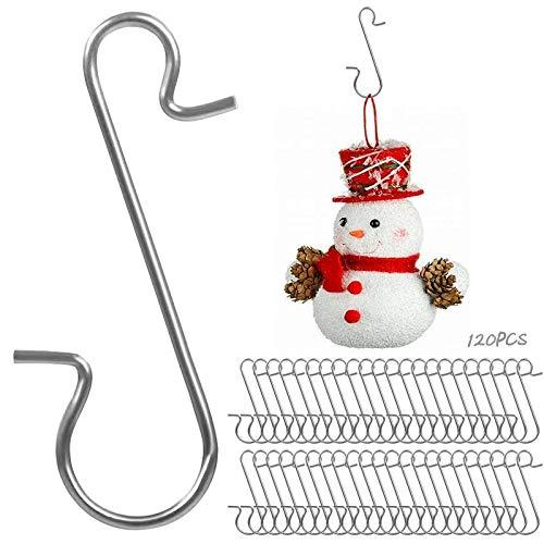 Yisscen 120 Stück Weihnachtsbaum Haken, Wiederverwendbar Edelstahl S Haken Xmas Klein, für Aufhängen von Christbaumkugeln und Andere Christbaumschmuck