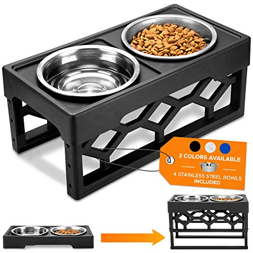 AVERYDAY Large Adjustable Dog Bowl Stand Dog Bowl Set 4 Dog Food Bowl 4 Custom Elevated Dog Bowl Height - Large Dog Feeder Elevated Dog Bowls for Large Dogs and Raised Dog Bowls for Medium Dogs