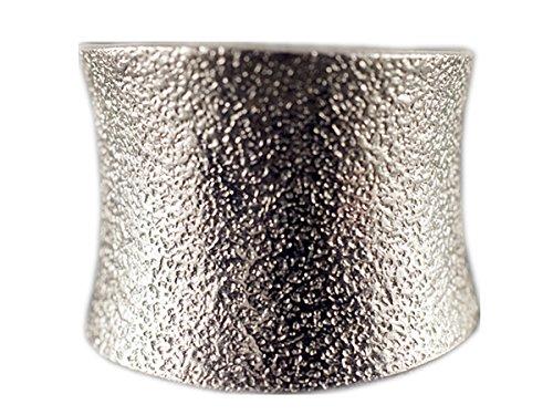 NicoWerk Silberring Vintage Ring Silber 925 Breit mit Struktur Verstellbar Damenringe Damen Schmuck 369