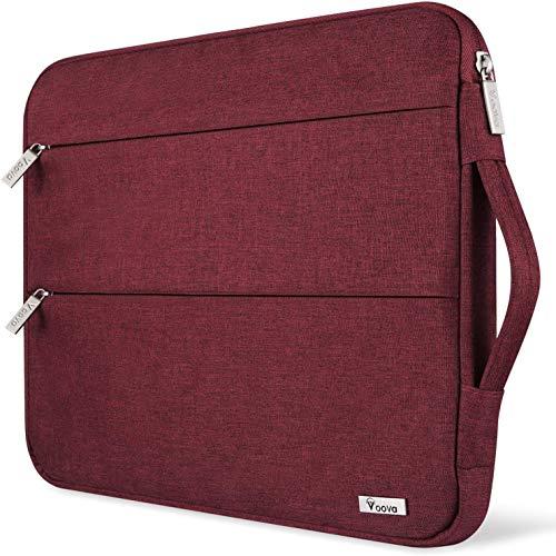 Voova Laptop Hülle Tasche Tablet 11 11.6 12 Zoll mit Handgriff,wasserdichte Laptoptasche 12 Zoll Sleeve für Surface 7 6/Chromebook/MacBook air/IPad 12.9 mit 2 Taschen,Notebook Laptophülle Hülle-Rot Frau