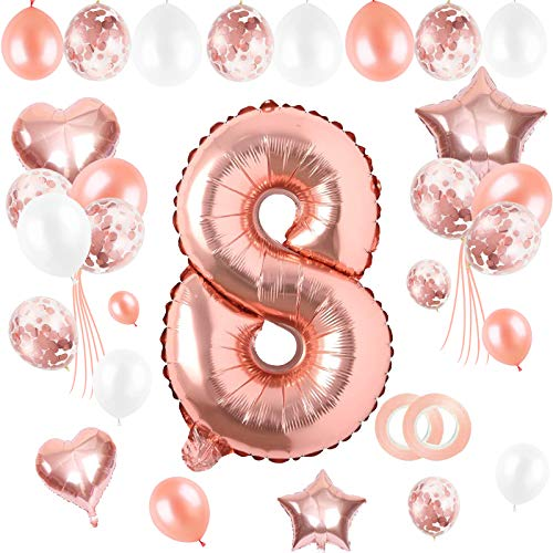 Sinwind Globo de Cumpleaños 8 año, Globo Globo Numero 8 Gigantes, Globo 8 Cumpleaños año, Cumpleaños Bebe Globos Decoracion, Adornos Cumpleaños Niña, Decoracion Cumpleaños 8