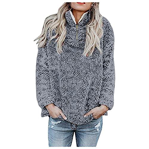 BIBOKAOKE Sudadera de invierno para mujer, chaqueta de felpa suave para niña, jersey mullido, de forro polar, sudadera de invierno, sudadera de manga larga, sudadera de felpa, chaqueta de entretiempo