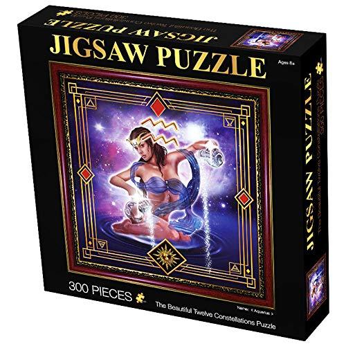 SJZLMB Adultos Puzzle Puzzle para niños Rompecabezas para Adultos Rompecabezas de descompresión de constelación de Doce Piezas cuadradas-300 Rompecabezas-Acuario