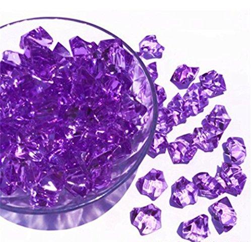 Ivie Pierre de cristal coloré en verre acrylique transparent pour aquarium, terrarium, vase, plantes, décoration de jardin (200 g) (Violet)