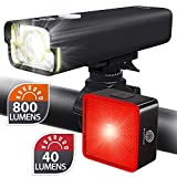 BrightRoad Rechargeable Front 800 & Back 40 Lumens Bicycle Light set, Auto On/Off Tail Light & LED Headlight with 650 ft Visibility, IPX6 Waterproof Bike Lights, Rear Light with Build-In Reflector
