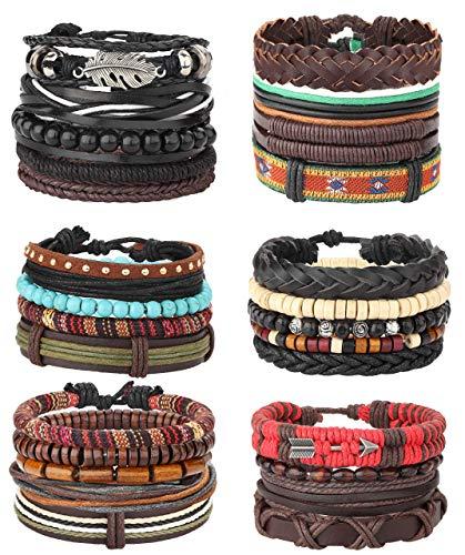 Milacolato 26 Stücke Woven Geflochtenes Leder Armband für Männer Frauen Hanf Cords Holz Perlen Manschette Armbänder Einstellbar