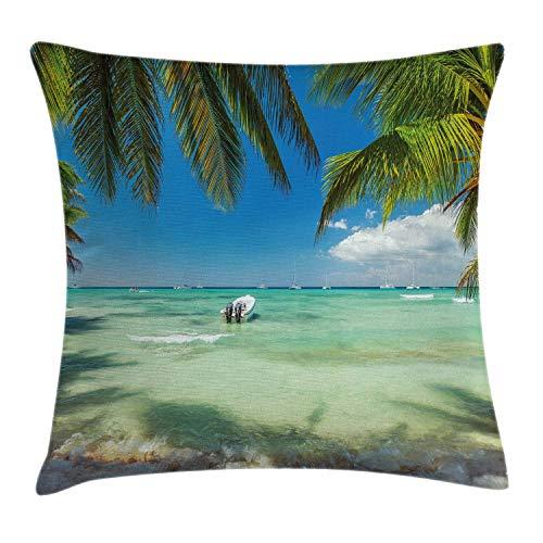 MZZhuBao Funda de cojín tropical, mar surrealista rodeado de hojas de palmera, naturaleza escénica, verano, funda de almohada decorativa cuadrada, 45,72 x 45,72 cm, verde helecho, azul turquesa