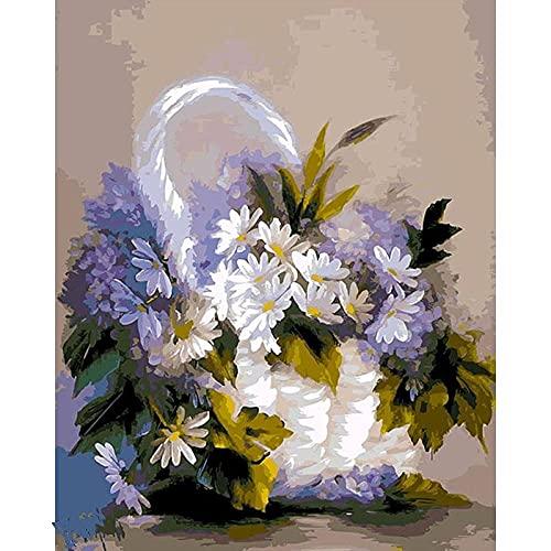 HDPDY Pintar por Numeros Adultos Niños DIY Paint By Number Kit Una canasta de crisantemos blancos. - 40CMx50CM