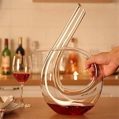 Decantador de vino de vidrio hecho a mano, decantador de vino de vino de cráneo y gafas fijadas a Antter, 100% de cristal sin plomo, soplado a mano, vino tinto Anter / Jarrafa, diseño de forma de U, p