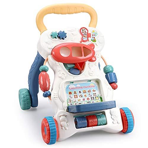 3-en-1 Baby Walker, Music Light Puzzle Aprendizaje La máquina de aprendizaje puede enseñar números de letras, el tanque de agua en aumento de peso puede prevenir gotas laterales Evite O-patas, asas an