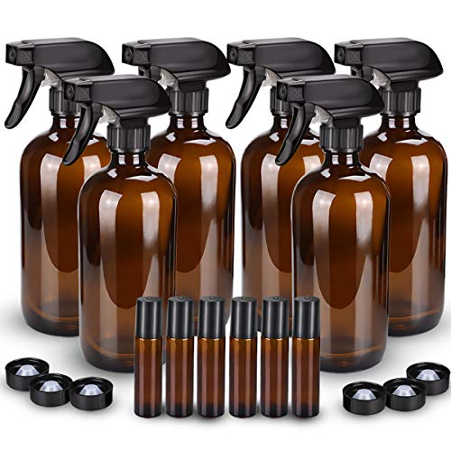 6 Pack Glass Spray Bottle, Wedama Amber 16oz Glass Spray Bottle Set & 6 pack 10ml Essential Oil Roller Bottles for Aromatherapy Facial hydration Watering Flowers Hair Care