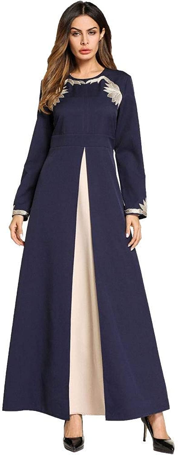 MAZF Women Dress Fake TwoPiece Large Swing Open Embroidered Dress Gown Robes bluee