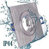 6x Einbaustrahler Bad IP44 mit GU10 Fassung ECKIG alu gebürstet + 5W Leuchtmittel warmweiß Einbauspot Einbauleuchte Rahmen Rostfrei Deckenspot Strahler Spot