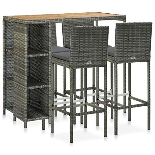 Juego de mesa de comedor de madera, muebles de jardín con cojines de polirratán, gris, impermeable, con 1 mesa y 4 sillas