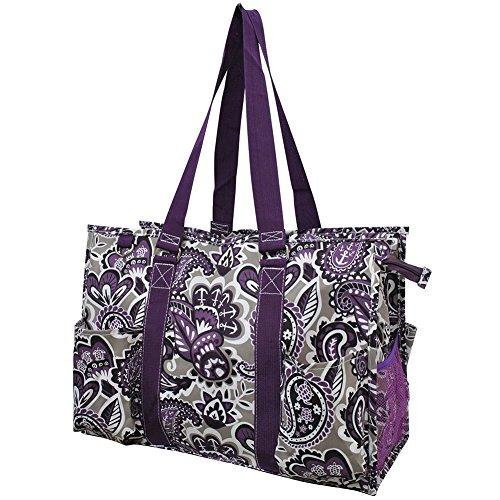Purple Paisley NGIL Large Zippered Caddy Organizer Tote Bag