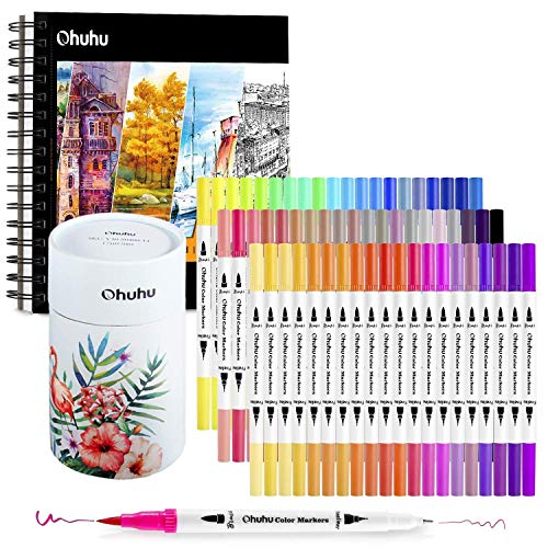 "Ohuhu Art Markers Dual Tips Coloring Brush Fineliner Color Pens, 60 Colors of Water Based Marker+ 8.9""×8.3"" Mixed Media Art Sketchbook"