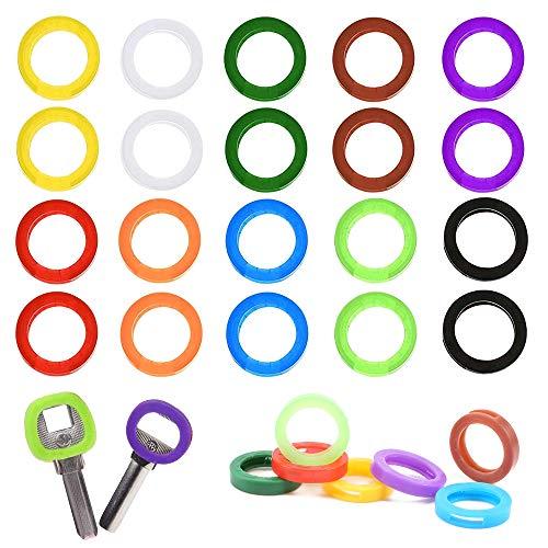 ManLee 20pcs Schlüssel Kappen Set Schlüsselabdeckungen Silikon Schlüsselkappen Schlüsselkennring Rund Kennring für Einfachen Identifizierung von Schlüssel Zuhause Büro Hotel(10 helle Farben)