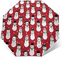 クリスマススノーマントラベルアンブレラ軽量コンパクトポータブル防風UVプロテクションサン&レインオートオープン&クローズフォールディングオートマチックアンブレラ女性用メンズキッズ用