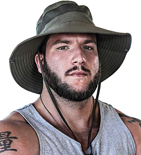 GearTOP UPF 50+ Boonie Hats for Men Wide Brim for UV & Sun Coverage for Fishing Hiking Hunting Mens Hat Safari (Army Green, 7-7 1/2)