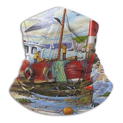 Schiff Boot Leuchtturm Fliegende Vgel Polaina para el cuello, mscara facial de pesca Uv Bandana de proteccin para correr y senderismo