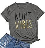 NANYUAYA Aunt Vibes T Shirt Women Funny Letter Print Bless Auntie Tops Tees