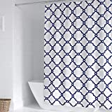 WELTRXE Waterproof Fabric Shower Curtain with Hooks, Navy Blue and White Moroccan Geometric Pattern Bathroom Curtains, Machine Washable, 72 x 72 inches, Navy Blue