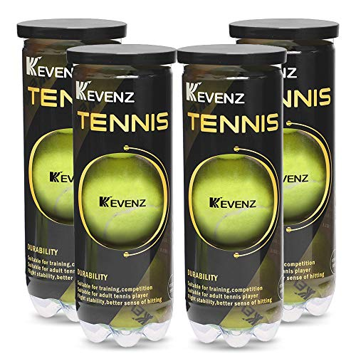KEVENZ Professional Tennis Balls, Highly Elasticity, More Durable, Good for Competiton and Training (4 Cans, 12 Balls)