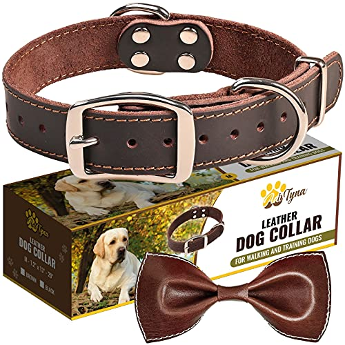 Heavy Duty Leather Dog Collar - Soft and Strong Dog Collar...