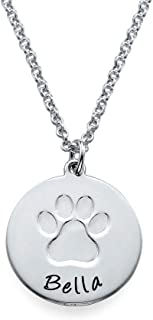 Personalized Necklace with Paw Print - Engrave Your Pets Name on Silver Disc - Jewelry Gift