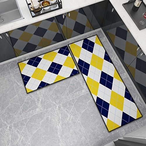 OPLJ Küchenmatte Anti-Rutsch-Türmatte Modernes Wohnzimmer Balkon Badezimmer Geometrisch bedruckter Teppich Waschbare Fußmatte A2 60x180cm