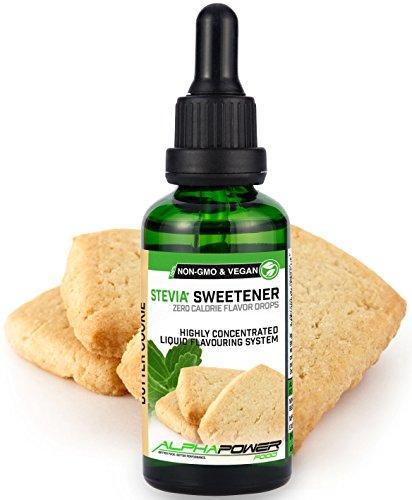 ALPHAPOWER FOOD: Stevia liquida, (1 x50ml Gusto biscotto al burro) Gusto liquido, Gocce aromatizzanti e dolcificante senza zucchero sostituto dello zucchero & calorie, dolcificante naturale, vegano