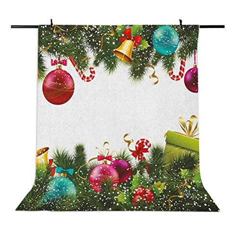 6x9 FT Christmas Vinyl Photography Backdrop,Snowy Winter Xmas Time Happy New Year Greeting Presents Bells Leaves Garland Background for Baby Shower Bridal Wedding Studio Photography Pictures