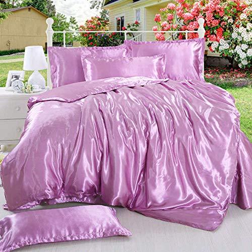 geek cook Bedding 4 piece set,Solid Color Black Color Satin Silk Cool Bedding Set for Summer with Duvet Cover Flat Sheet Pillowcase-color 4_Single 3pcs