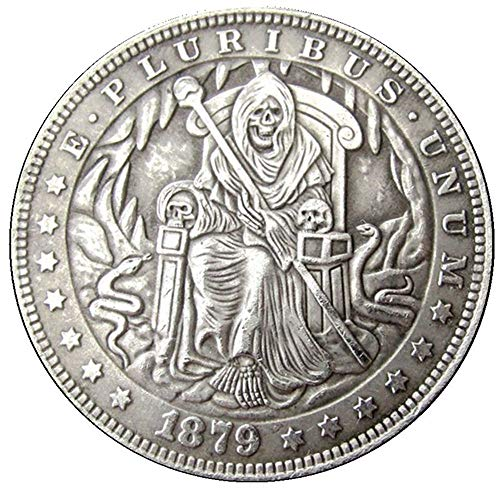 HB(62)US Hobo 1879 Morgan Dollar skull zombie skeleton Creative Copy Coins keychain pendant - coolthings.us